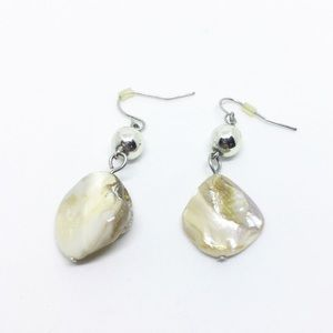 Silver and mother of pearl dangle earrings